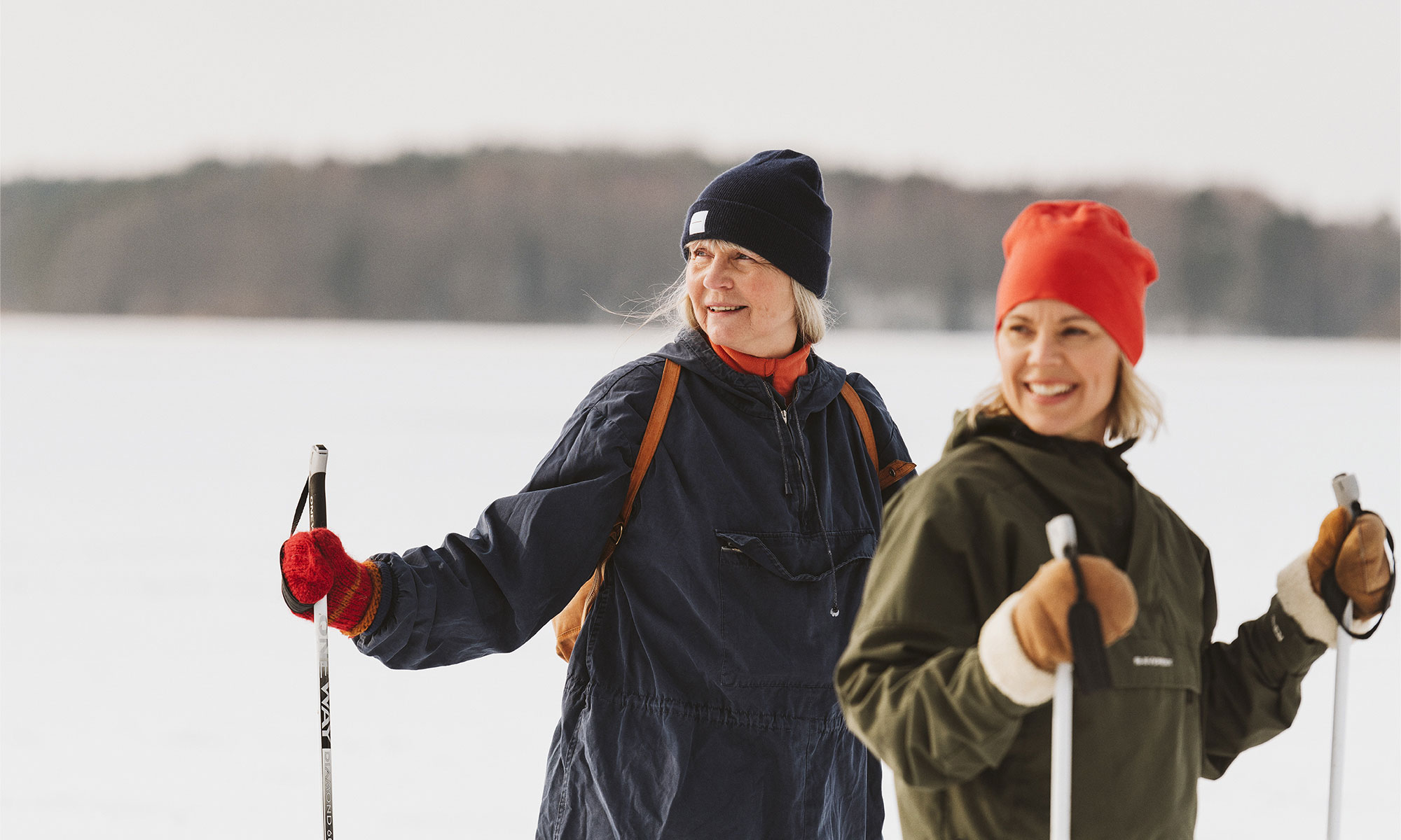 Two women out skiing.